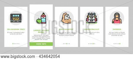 Fitness Health Athlete Training Onboarding Mobile App Page Screen Vector. Sportsman Equipment For Ma