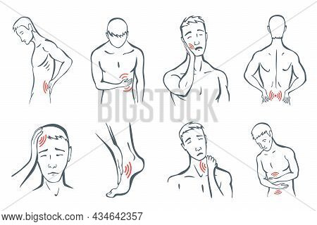Body Parts Pain Set. Man Feels Pain Location In Different Part Of Body With Red Line Icons. Ache In