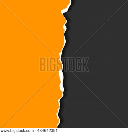 Torn, Realistic, Ripped Strip Of Orange Paper With A Light Shadow On A Dark Gray Background. Torn Ca