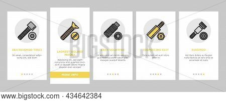Screw And Bolt Building Accessory Onboarding Mobile App Page Screen Vector. Socket Head And Shoulder