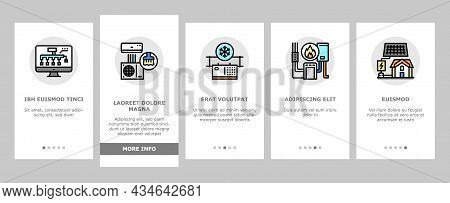 Conditioning System Electronics Onboarding Mobile App Page Screen Vector. Conditioning System Repair