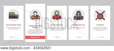 Ancient Rome Antique History Onboarding Mobile App Page Screen Vector. Ancient Rome Amphora Vase And