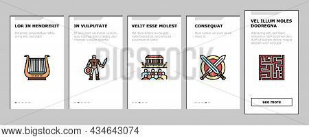 Ancient Greece Mythology History Onboarding Mobile App Page Screen Vector. Ancient Greece Myth And O