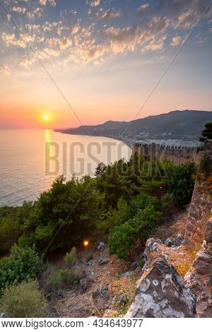 Beautiful sunset at the Alanya castle by the Mediterranean Sea. Turkey