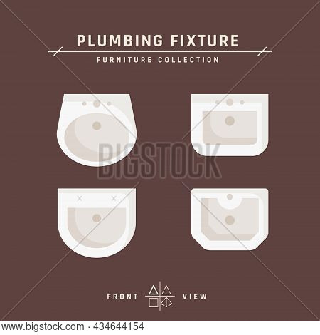 Types Of Washbasins In Flat Style, Vector