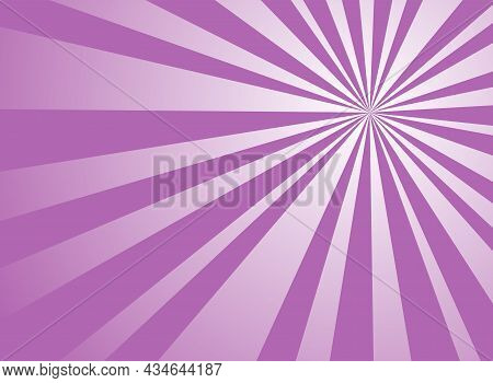Sunlight Horizontal Background. Purple Color Burst Background. Vector Illustration. Sun Beam Ray Sun