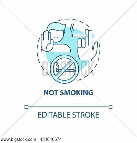 Not Smoking Concept Icon. Hypertension Prevention Tip Abstract Idea Thin Line Illustration. Reduce A