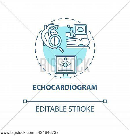 Echocardiogram Concept Icon. Hypertension Test Abstract Idea Thin Line Illustration. Non Invasive Pr