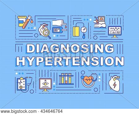 Diagnosing Hypertension Word Concepts Banner. Blood Pressure Monitoring. Infographics With Linear Ic