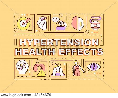 Hypertension Health Effects Word Concepts Banner. Health Complications. Infographics With Linear Ico