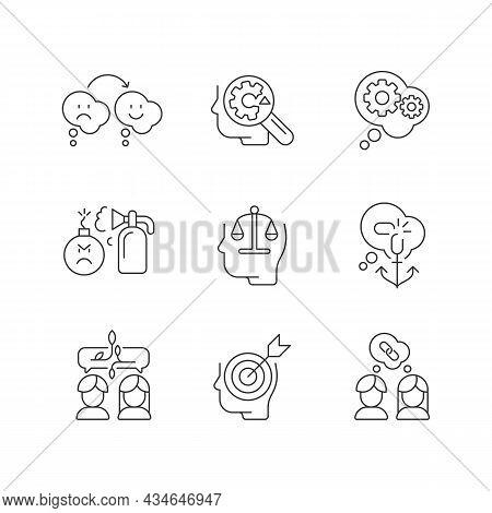 Critical Mindset And Attitude Linear Icons Set. Rationality, Critical Thinking. Emotional Intelligen