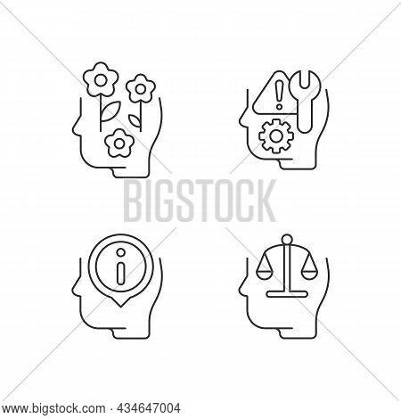 Rational And Emotional Mindset Linear Icons Set. Positive Attitude. Rationality. Self Correction. Cu