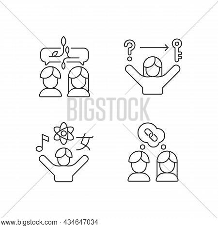 Communication Skills Linear Icons Set. Problem Solving Skills. Inquisitiveness. Understand And Accep