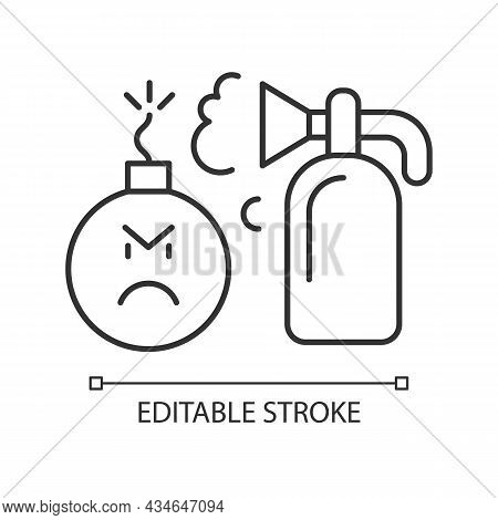 Extinguishing Emotions Linear Icon. Suppressing Feelings And Emotions That You Experience. Thin Line