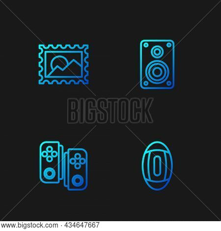 Set Line American Football Ball, Gamepad, Postal Stamp And Stereo Speaker. Gradient Color Icons. Vec