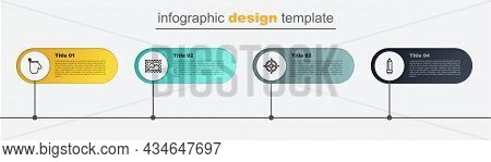 Set Line Pencil With Eraser, Target Sport, Postal Stamp And Oven Glove. Business Infographic Templat