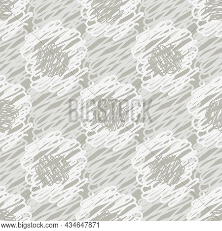 Scribbled Circle Neutral Color Vector Seamless Vector Pattern Background. Mix Of Blended Looped Wool