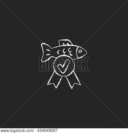 Fish Quality Control Chalk White Icon On Dark Background. Checking Seafood Toxic Containment. Standa