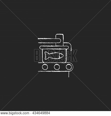 Canning Chalk White Icon On Dark Background. Fish Processing. Sealing Conveyor. Conserved Seafood. C