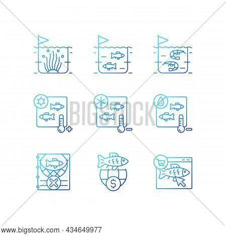 Fish Product Farming And Storing Gradient Linear Vector Icons Set. Sterilization And Preservation. C
