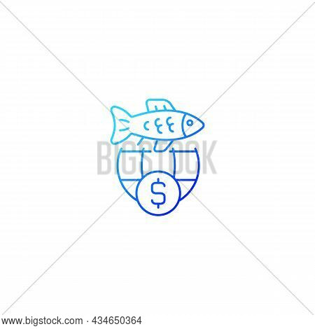 International Fisheries Trade Permit Gradient Linear Vector Icon. Import And Export Regulation. Reex