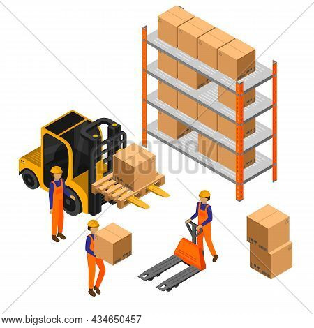 Warehouse Isometric Composition With Human Characters Of Workers Carrying Freight Boxes With Forklif