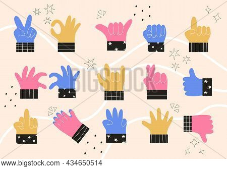 Set Of Colorful Abstract Hands In Different Gestures Emotions And Signs. Modern Isolated Vector Illu