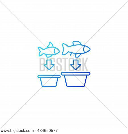 Fish Sorting Gradient Linear Vector Icon. Grading And Separating Seafood Products For Trade. Sorting