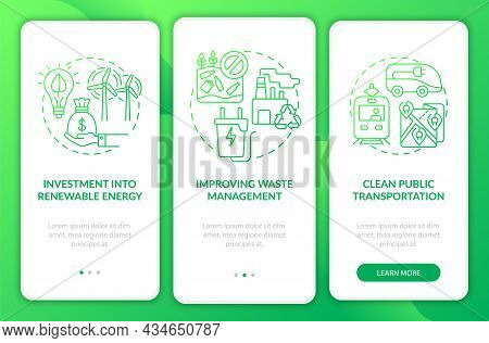 Reduce Global Warming Onboarding Mobile App Page Screen. Waste Management Walkthrough 3 Steps Graphi