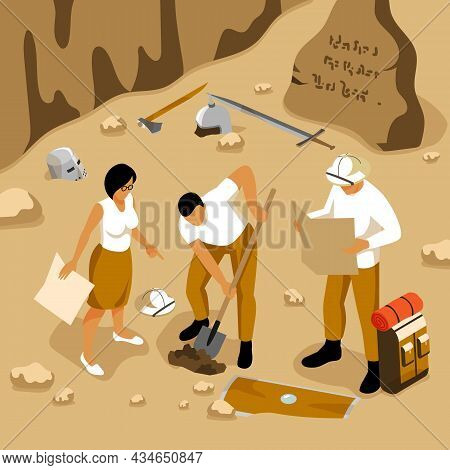 Archaeology Isometric Background With Artifacts And Writing Symbols Vector Illustration