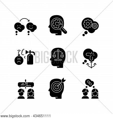 Critical Mindset And Attitude Black Glyph Icons Set On White Space. Rationality And Critical Thinkin