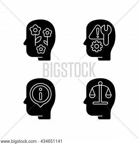 Rational And Emotional Mindset Black Glyph Icons Set On White Space. Positive Attitude. Rationality.