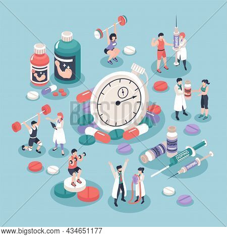 Isometric Doping In Sports Concept With 3d Pills Drugs Syringes Athletes And Stopwatch On Colored Ba
