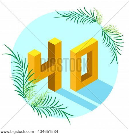 The Number 40 In Isometric Style With A Shadow In A Blue Circle, Decorated With Tropical Leaves. The