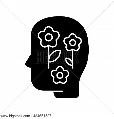 Positive Mindset Black Glyph Icon. Optimistic Attitude And Thinking. Lifestyle And Approach. Skill T
