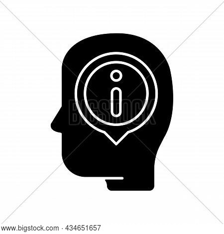 Staying Well Informed Black Glyph Icon. Obtain Extensive Information And Facts. Critical Thinking Sk