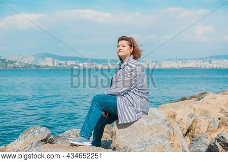 Plus Size Woman In Istanbul, Big Size Lady In Vacation. Lifestyle