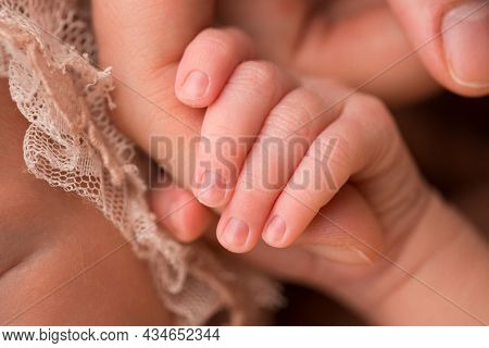 The Hand And Fingers Of A Newborn Baby. Parents Hold The Fingers Of Their Newborn Baby With Their Ha