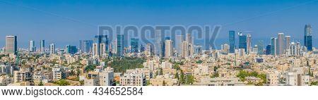 Tel Aviv Skyline And Ramat Gan Cityscape at day. Aerial View,  Tel Aviv Cityscape Panorama At Day, Israel