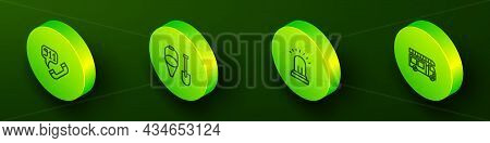 Set Isometric Line Telephone Call 911, Fire Shovel And Bucket, Ringing Alarm Bell And Truck Icon. Ve