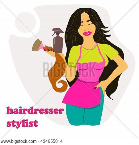 Hairdresser, Stylist Holds Spray, Strand Of Hair For Coloring. Young Woman With Hairdressing Tools.