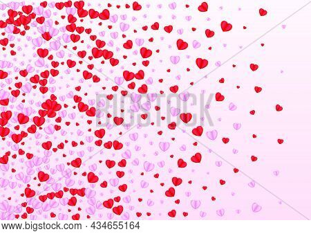 Tender Heart Background Pink Vector. Cute Illustration Confetti. Fond Cut Backdrop. Red Heart Honeym