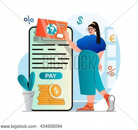Online Payment Concept In Modern Flat Design. Woman Paying For Purchases With Credit Card In Mobile