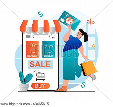 Online Shopping Concept In Modern Flat Design. Woman Buying And Paying For Goods In Mobile Applicati
