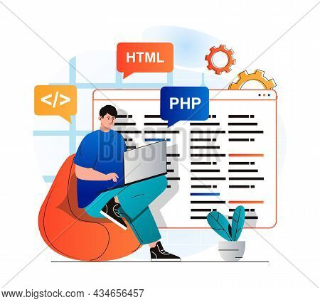 Programming Working Concept In Modern Flat Design. Developer Programs In Html And Php Languages, Cre