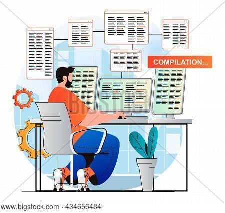 Programming Working Concept In Modern Flat Design. Developer Does Compilation Of Program. Man Create