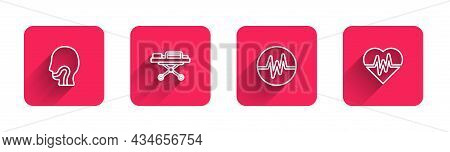 Set Line Sore Throat, Stretcher, Heart Rate And With Long Shadow. Red Square Button. Vector