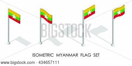 Isometric Flag Of Republic Of Myanmar In Static Position And In Motion On Flagpole. 3d Vector