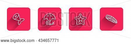 Set Line Fish Tail, Stingray, Starfish And Steak With Long Shadow. Red Square Button. Vector