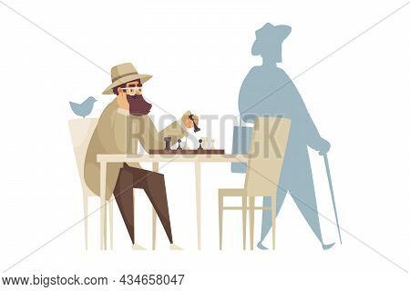 Cartoon Composition With Lonely Man Playing Chess Alone Vector Illustration